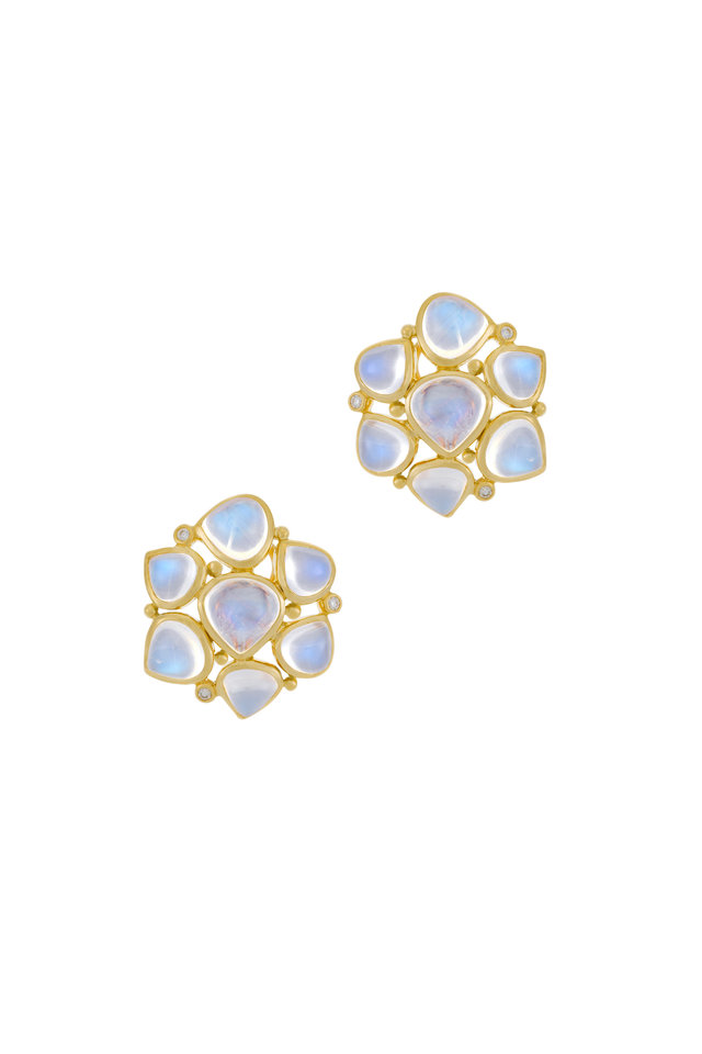 18K Gold Moonstone & Diamond Earrings, 24mm