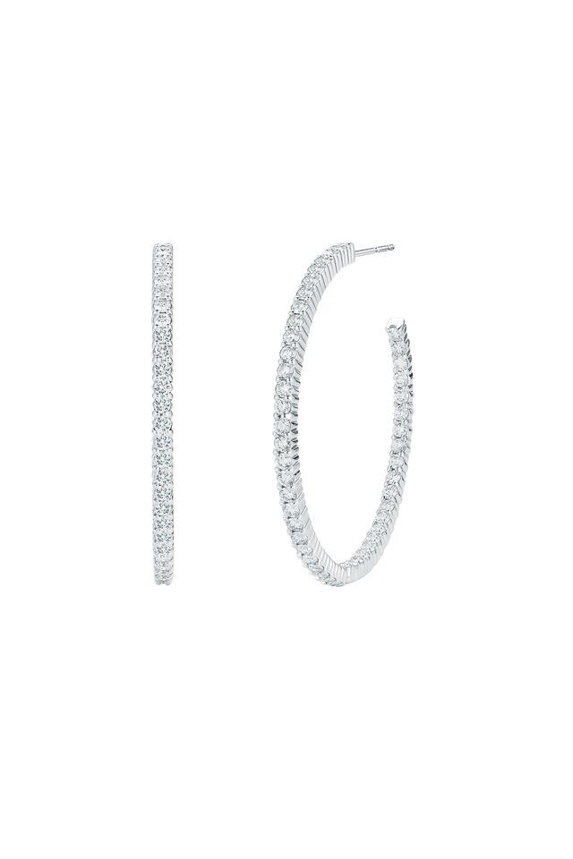 18K White Gold & Brilliant-Cut Diamonds Hoops