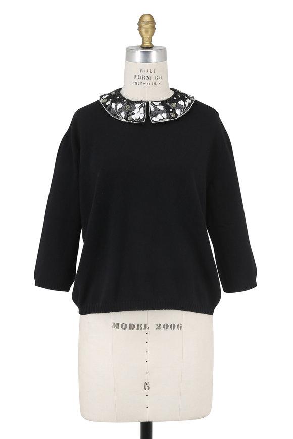 Valentino Black Embellished Collar Sweater