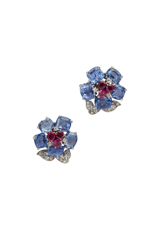 Cartier Sapphire, Ruby & Diamond Flower Earrings