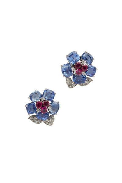 Fred Leighton - Cartier Sapphire, Ruby & Diamond Flower Earrings