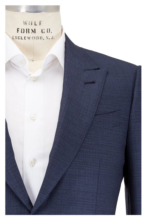 Ermenegildo Zegna Fancy Slate Blue Peak Lapel Suit