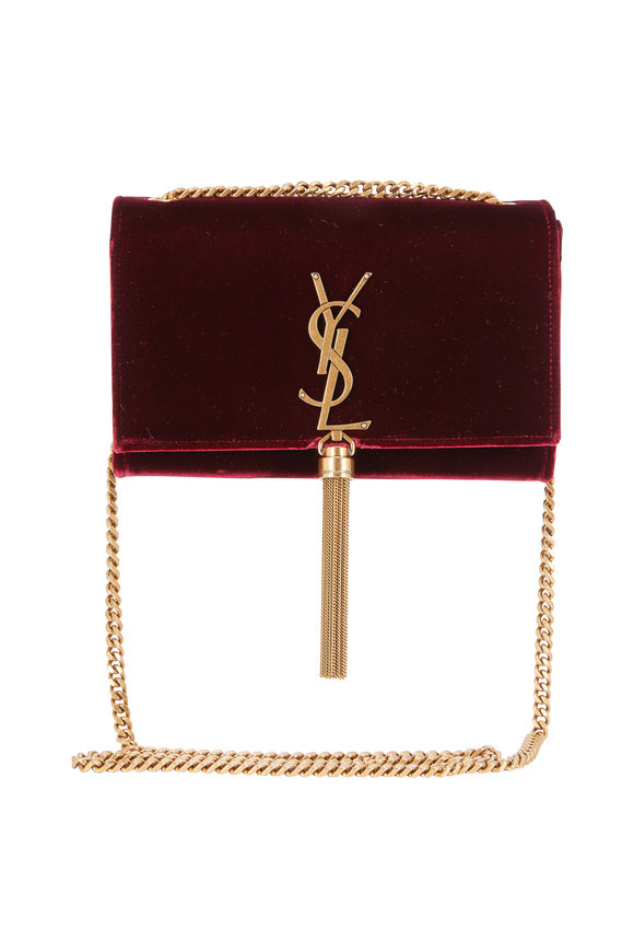 Saint Laurent Kate Burgundy Velvet Tassel Bag With Gold Chain