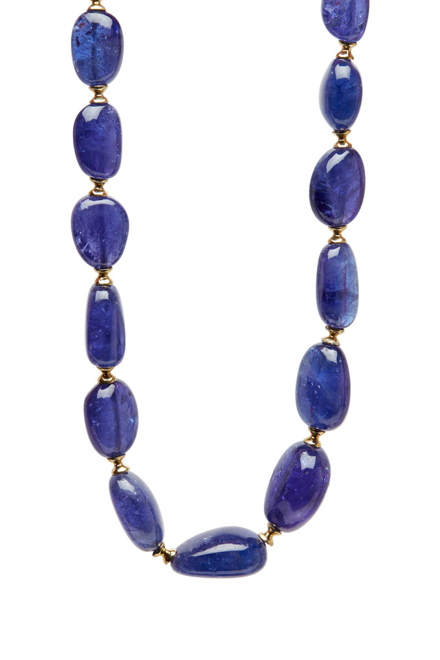 Yellow Gold Tanzanite Bead Necklace