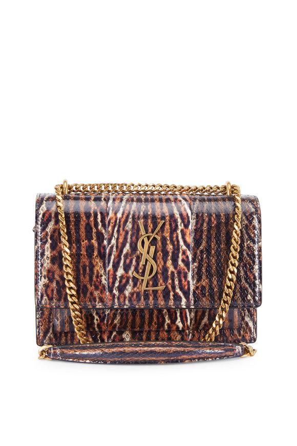 Saint Laurent Sunset Brown Snakeskin Shiny Leather Medium Bag
