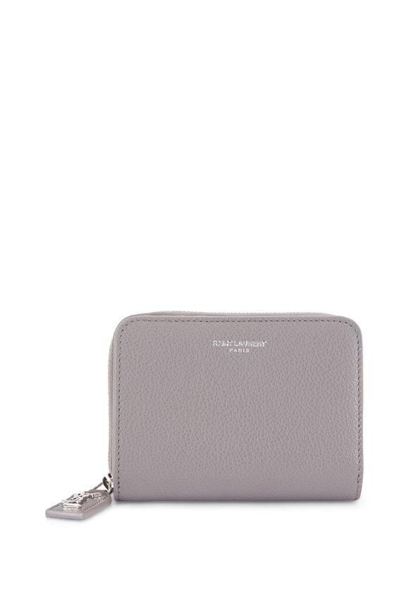 Saint Laurent Fog Leather Compact Zip Wallet