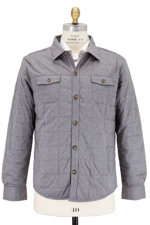 Peter Millar Stingray Gray Quilted Cotton Overshirt