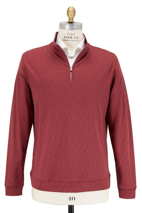 Peter Millar Crown Comfort Sierra Red Quarter-Zip Pullover