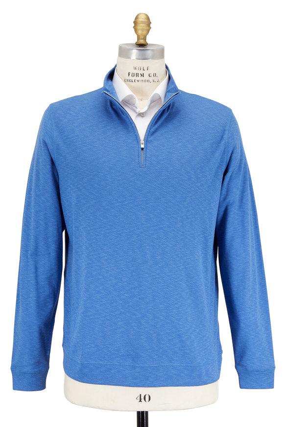 Peter Millar Crown Comfort Moon Blue Quarter-Zip Pullover