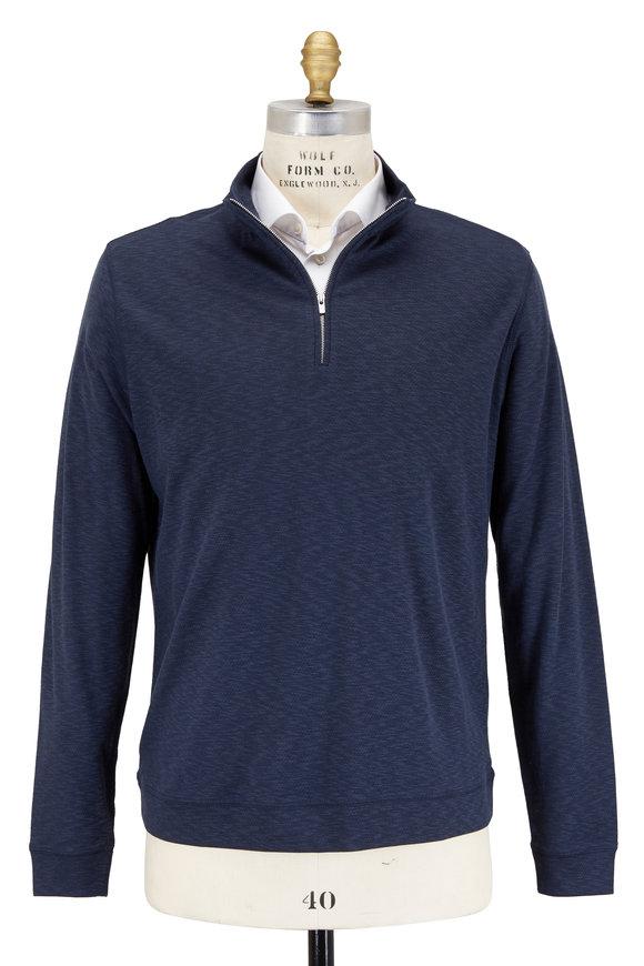 Peter Millar Crown Comfort Navy Blue Quarter-Zip Pullover
