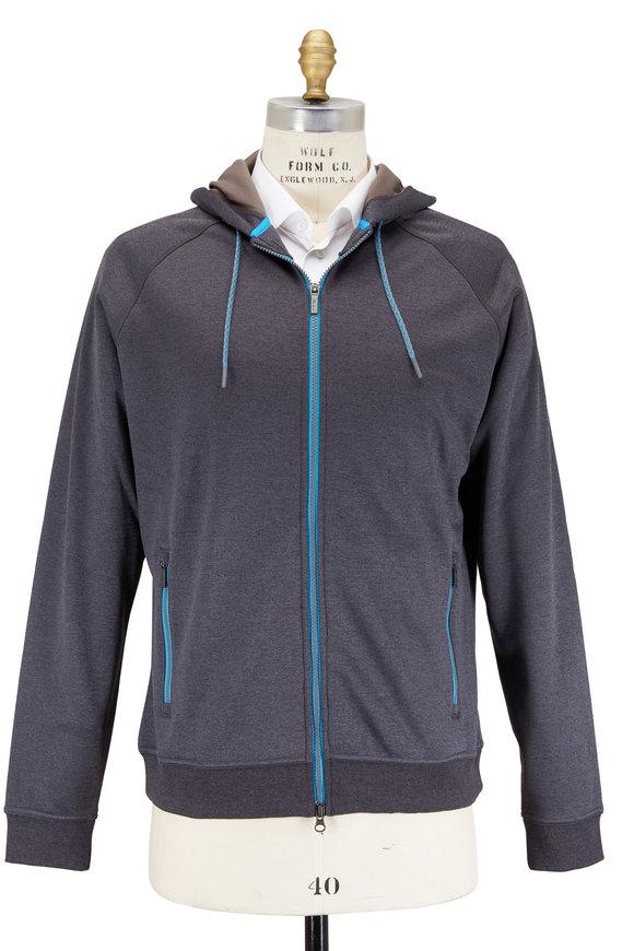 Peter Millar Crown Sport Charcoal Gray Zip Fleece Hoodie