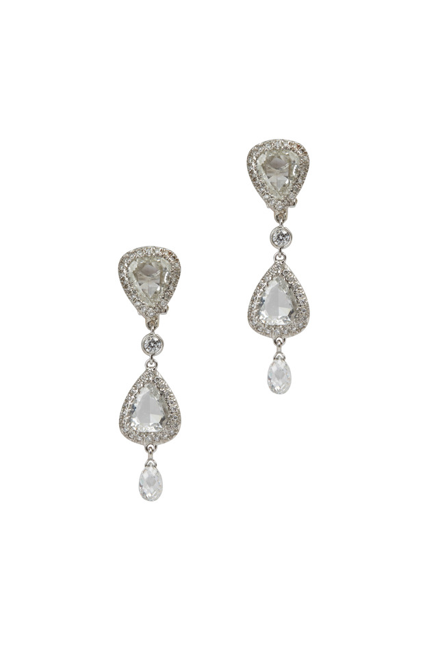 Platinum & Gold Rose-Cut Diamond Pendant Earrings