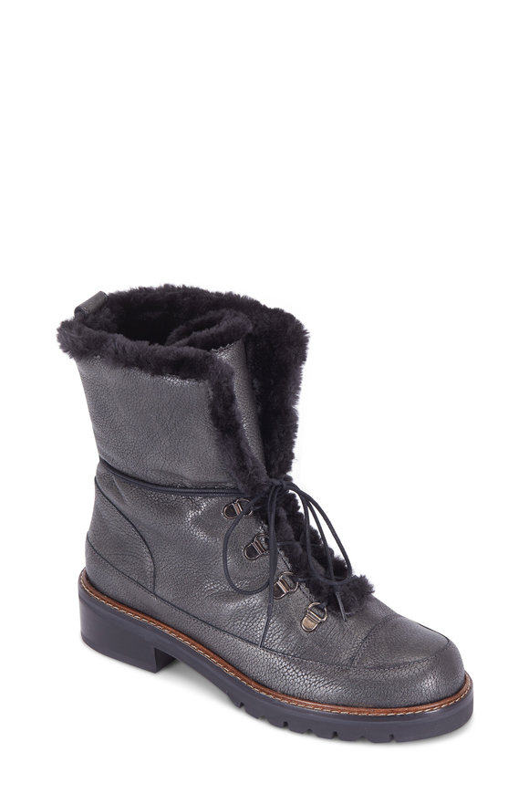 Stuart Weitzman Luge Steel Smokey Fur Lined Lace-Up Boot, 40mm
