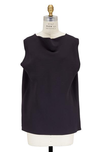The Row - Sandra Anthracite Silk Draped Back Silk Top