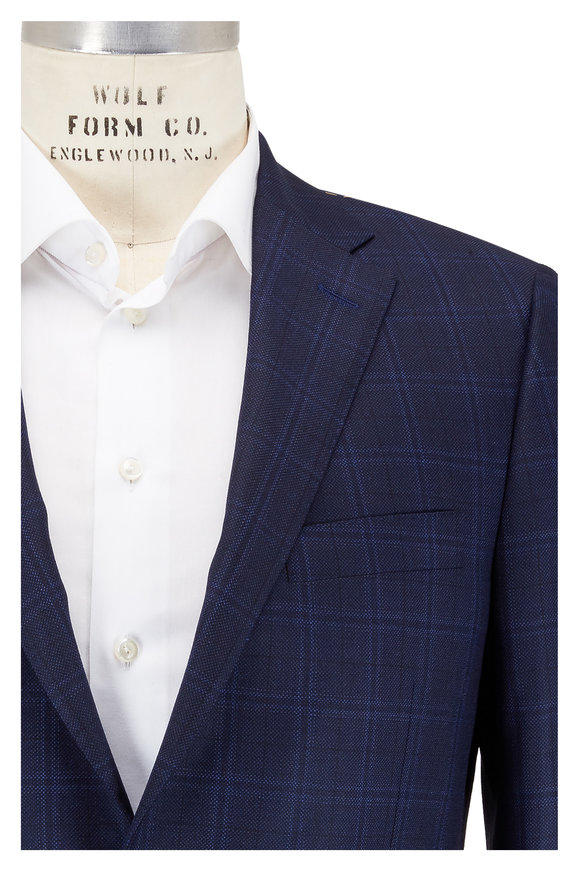 Hickey Freeman Beacon Blue Windowpane Wool Suit