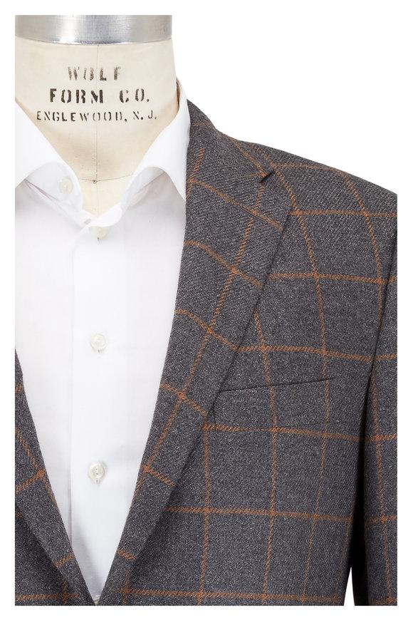 Hickey Freeman Beacon Gray Windowpane Camelhair & Wool Sportcoat