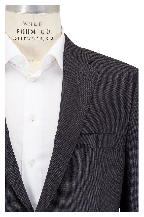 Hickey Freeman Charcoal Gray Striped Tasmanwool Suit