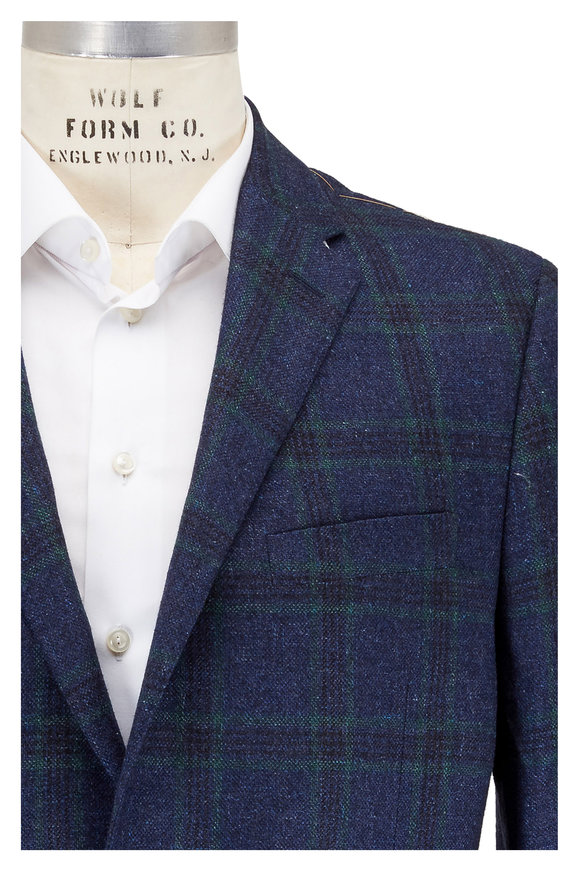 Hickey Freeman Blue Windowpane Cashmere Blend Sportcoat