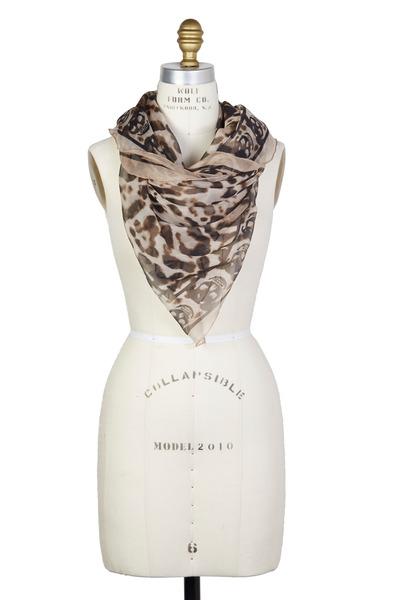 Alexander McQueen - Cream  Silk Chiffon Animal Scarf