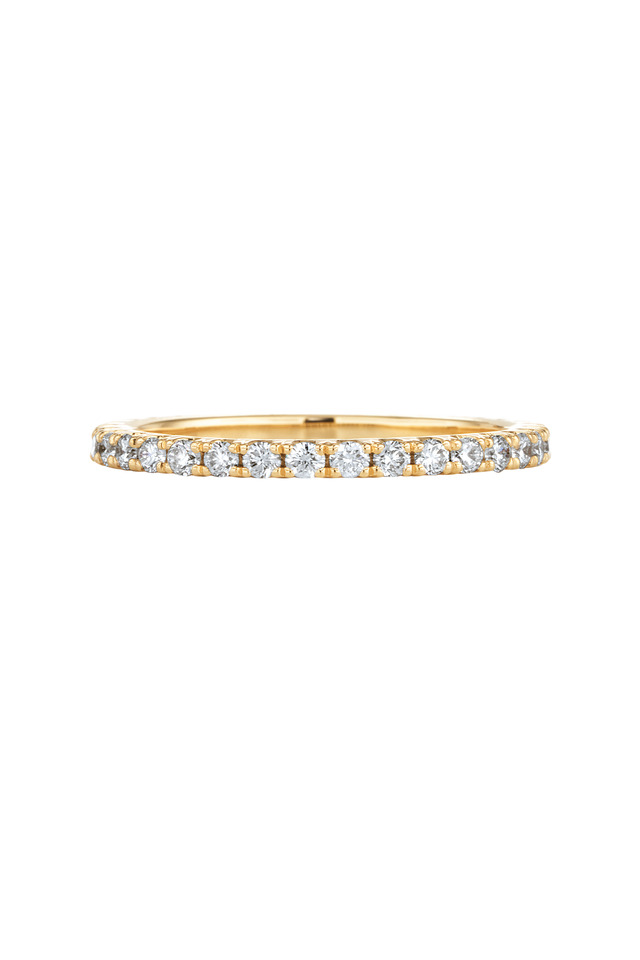 Yellow Gold Stack Brilliant Diamond Ring