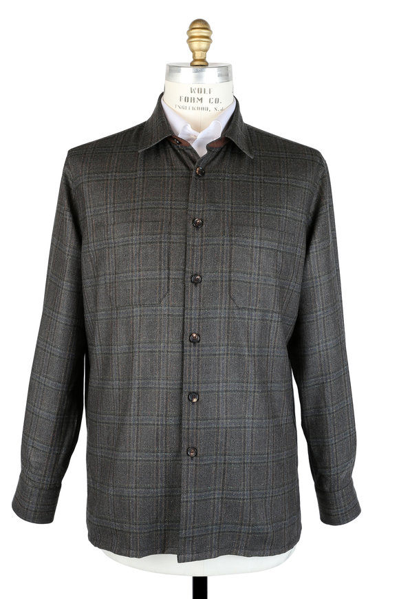 Luciano Barbera Dark Green Plaid Silk & Wool Overshirt