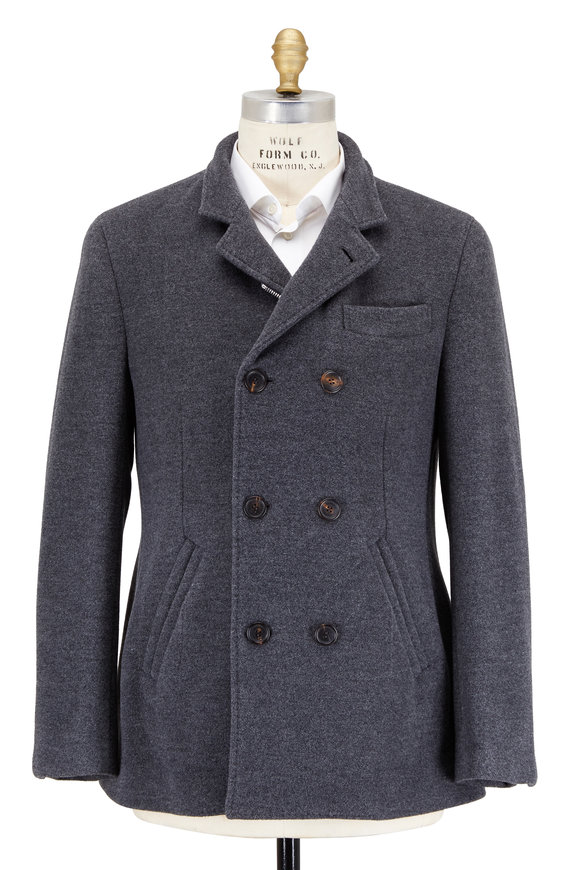 Brunello Cucinelli Charcoal Gray Wool & Cashmere Peacoat