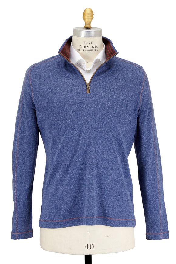 Robert Graham Elia Heather Blue Quarter-Zip Pullover