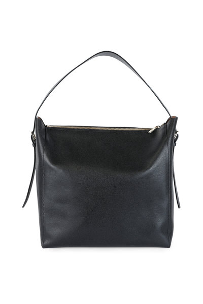 Valextra - Black Leather Hobo Bag