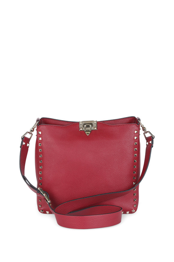 Valentino Rockstud Red Leather Small Hobo Bag