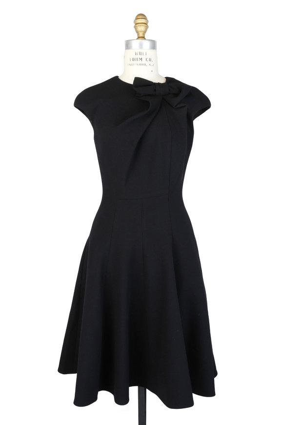Talbot Runhof Black Stretch Piqué Bow Detail Cap Sleeve Dress