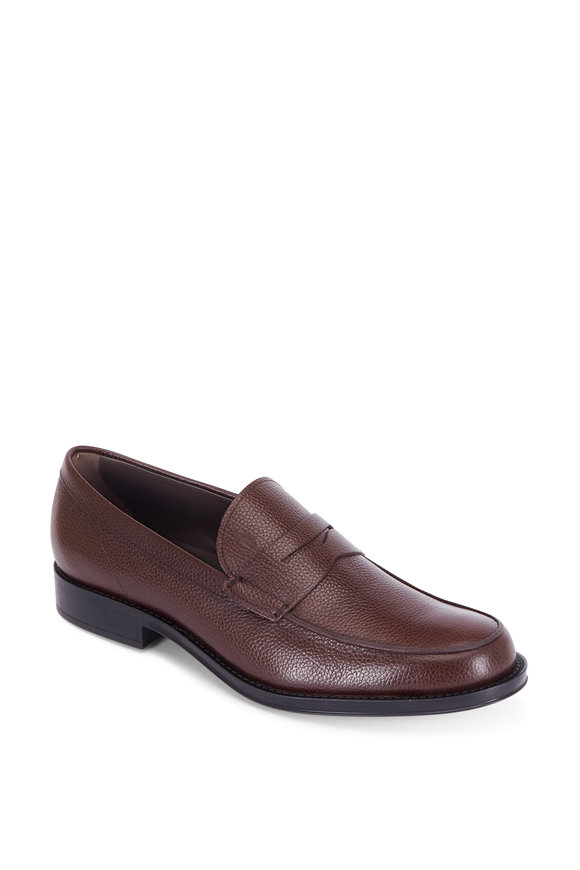 Tod's Dark Brown Grained Leather Penny Loafer