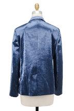 Brunello Cucinelli - Oxford Blue Velvet Asymmetric Button Front Jacket