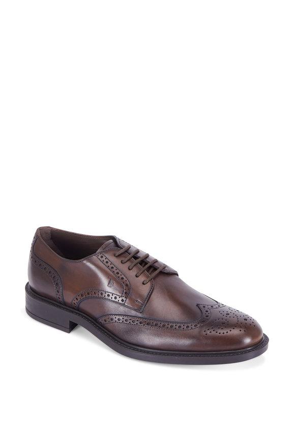Tod's Gomma Dark Brown Wingtip Derby Shoe