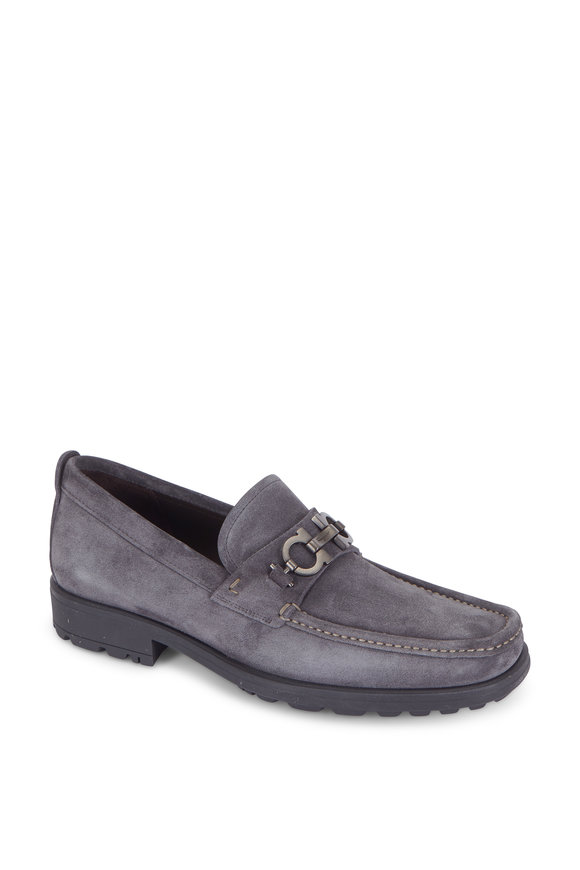 Salvatore Ferragamo David Dark Silver Suede Lug Sole Bit Loafer