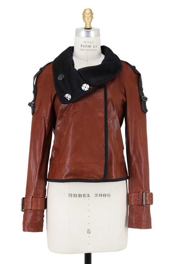 Veronica Beard Lafayette Cognac Leather Jacket