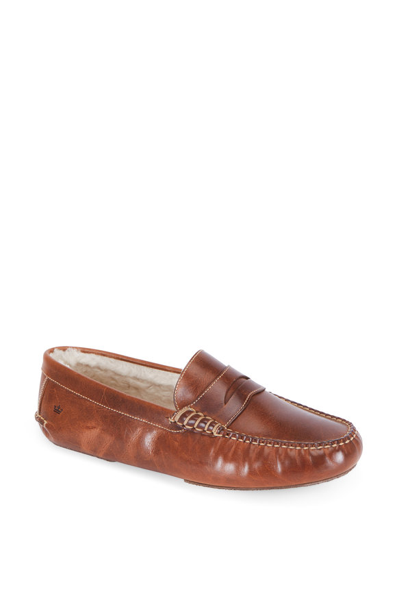 Peter Millar Percy Havana Leather Shearling Lined Slipper