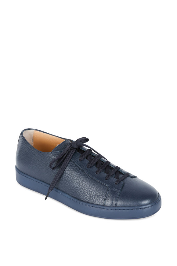 Santoni Cleanic Blue Pebbled Leather Low-Top Sneaker
