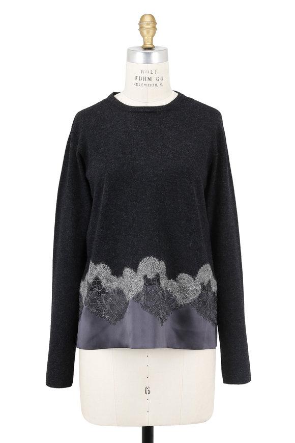 D.Exterior Charcoal Cashmere Silk Lace Hem Sweater