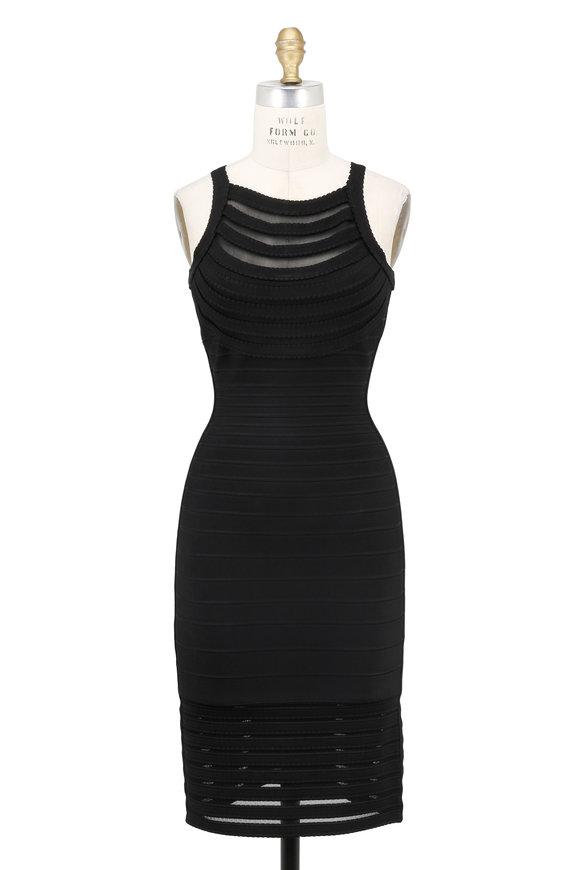 Herve Leger Emely Black Sheer Inset Bandage Dress