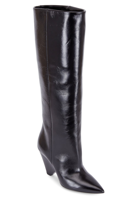 Saint Laurent Niki Black Moroder Leather Knee High Boot, 85mm
