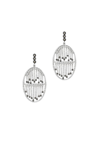 Coomi - Silver Diamond Double Layer Oval Stick Earrings