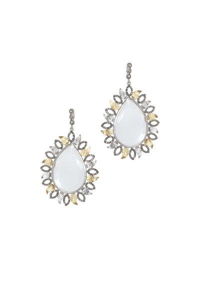 Coomi - Silver Crystal & Gold Leaf Vitality Earrings