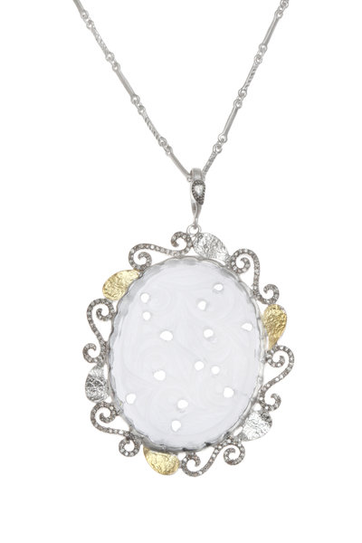 Coomi - Silver Crystal & Gold Leaf Vitality Necklace