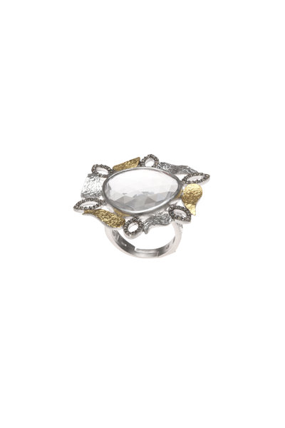 Coomi - Sterling Silver Crystal & Gold Leaf Vitality Ring