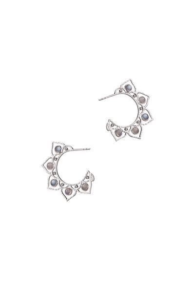 Coomi - Sterling Silver Labradorite & Diamond Hoops