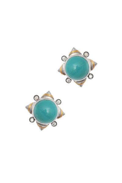 Coomi - 20K Gold & Silver Turquoise & Diamond Studs