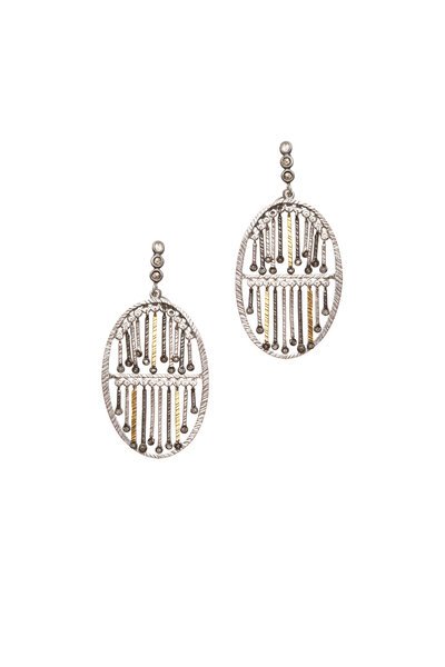 Coomi - 20K Gold & Silver Diamond Round Stick Earrings