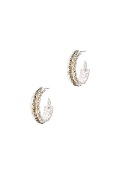 Coomi - 20K Gold & Silver Diamond Vitality Hoops