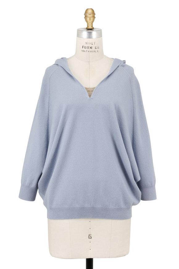 Brunello Cucinelli Light Blue Cashmere Hooded Pullover
