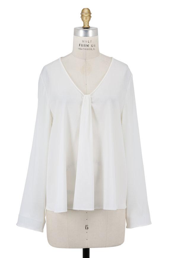 Armani Collezioni White Silk Tuck Front Popover Blouse